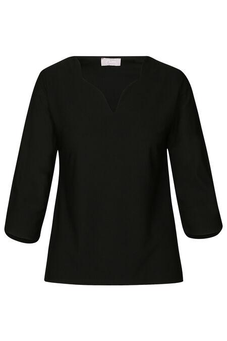 T-shirt met een gefestonneerde kraag - Zwart