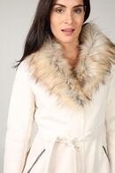 Manteau long col fausse fourrure, Blanc