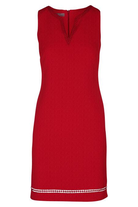 Effen jurk met Tunesische hals - Rood