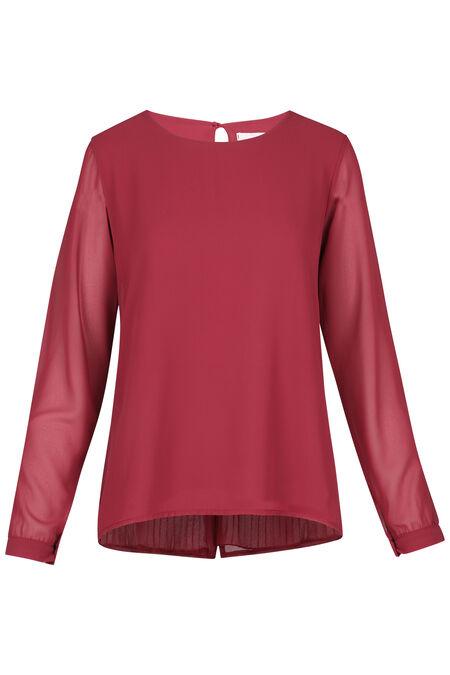 Effen blouse met plooitjes op de rug - Framboos