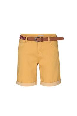 Katoenen short met riem, Oker