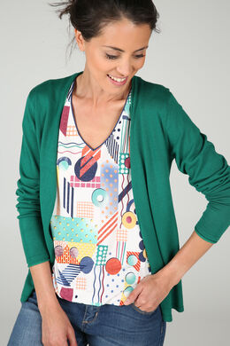 Cardigan avec finitions en lurex, Vert Gazon