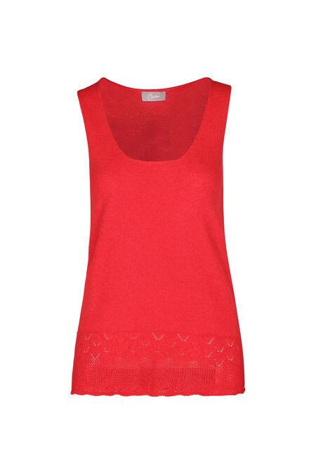 Mouwloze trui in dun tricot - Rood