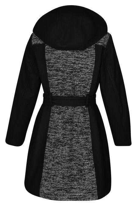 Manteau long bi-matière - Noir