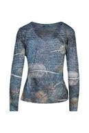 T-shirt met pluimen en strassteentjes, Blauw