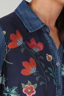 Soepele bloes met bloemenprint, Denim