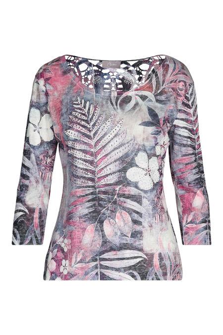 T-shirt imprimé de feuilles - aqua