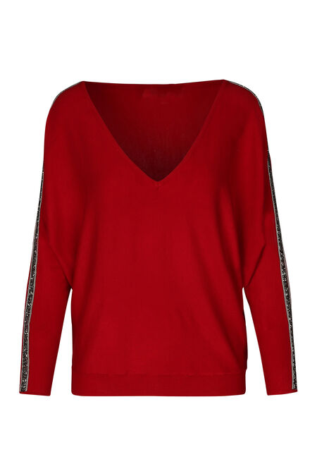 Pull bandes strass - Rouge