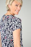 T-shirt met bladprint, Marineblauw