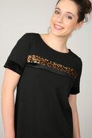 Jurk met fluwelen luipaardbandjes, Zwart