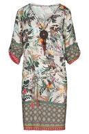 Robe imprimé tropical et ethnique avec collier, Kaki