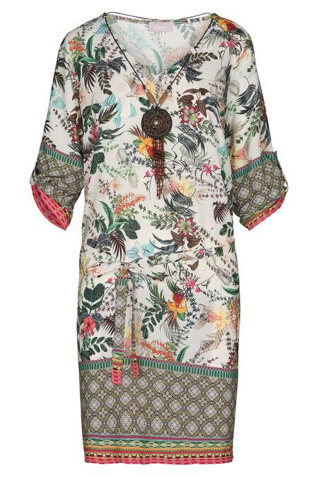 Robe imprimé tropical et ethnique avec collier - Kaki