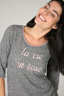 T-shirt in warm tricot 'La vie en rose', huidskleur