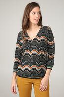 T-shirt in warm tricot met etnische print, Groen
