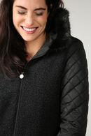Lange jas in twee stoffen met kraag in imitatiebont, Zwart