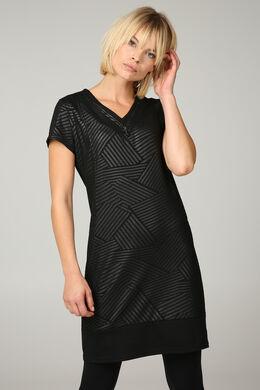 Jurk met geometrische print in milanofoil, Zwart