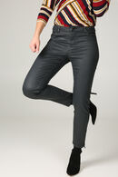 Pantalon enduit zip bas de jambe, Dark denim
