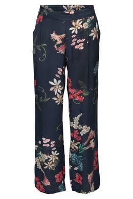 Soepel vallende broek met bloemenprint, Marineblauw