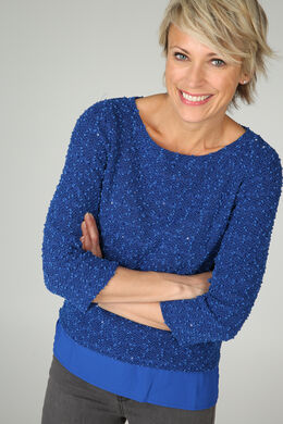 Sweater in bouclétricot, Koningsblauw