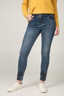 Jeans met borduurwerk en kralen onderaan de broekspijpen, Denim