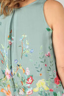 Bloes in voile met bloemetjesprint, Kaki