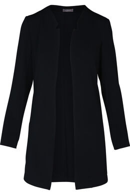 Halflange jas in structuurtricot, Marineblauw