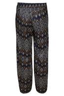 Soepel vallende broek met etnische print, Marineblauw