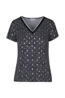 T-shirt met zilverkleurige stippen, Marineblauw