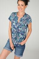 T-shirt in koel tricot met Tunesische hals, Appelblauwzeegroen
