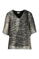 Blouse en voile imprimé léopard et serpent, Gris