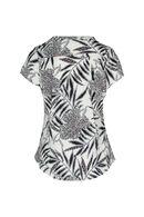 T-shirt met bladprint, Ecru