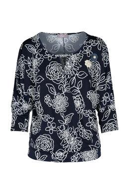 T-shirt met vleermuismouwen en print, Marineblauw