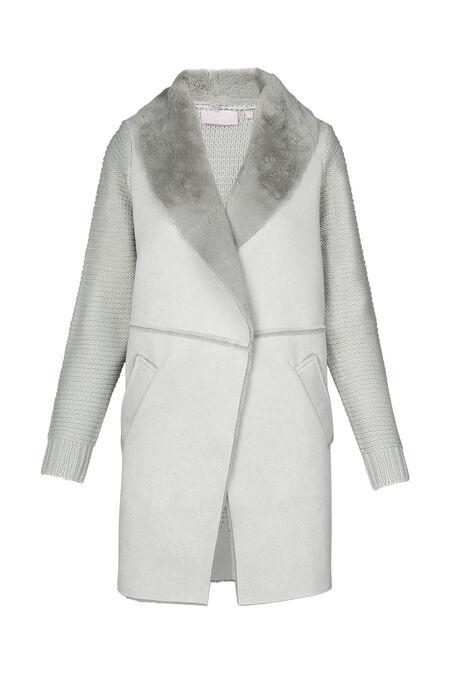 Veste longue mixe tricot et suédine - Gris