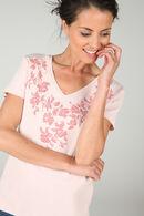 T-shirt met zeefdruk van bloemen, huidskleur