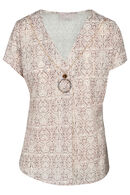 T-shirt met slangenprint en halssnoer, Beige
