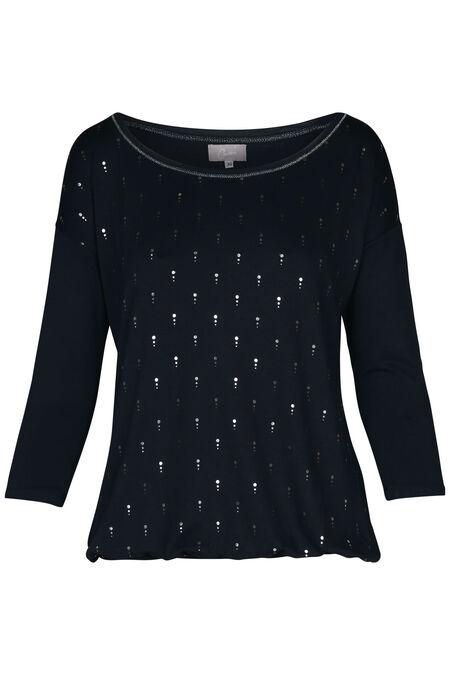 T-shirt met zilverkleurige stippen - Marineblauw