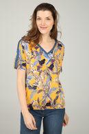 Shirt met bladprint, Geel