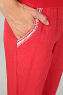 Soepele broek met jeanslook, Rood
