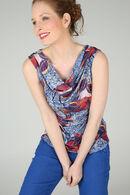 T-shirt met bladprint en watervalkraag, Koningsblauw