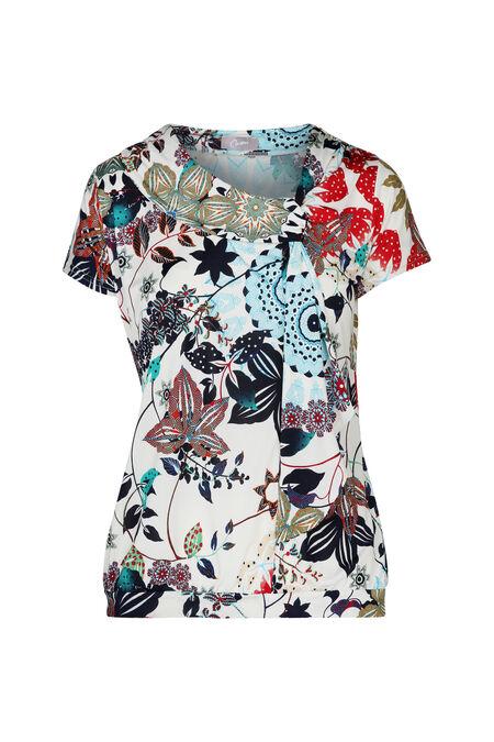 T-shirt koel tricot elastische boord - Turquoise