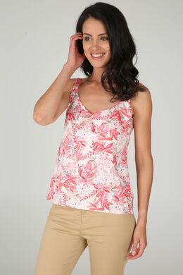 T-shirt met dunne schouderbandjes en bloemenprint, Koraal