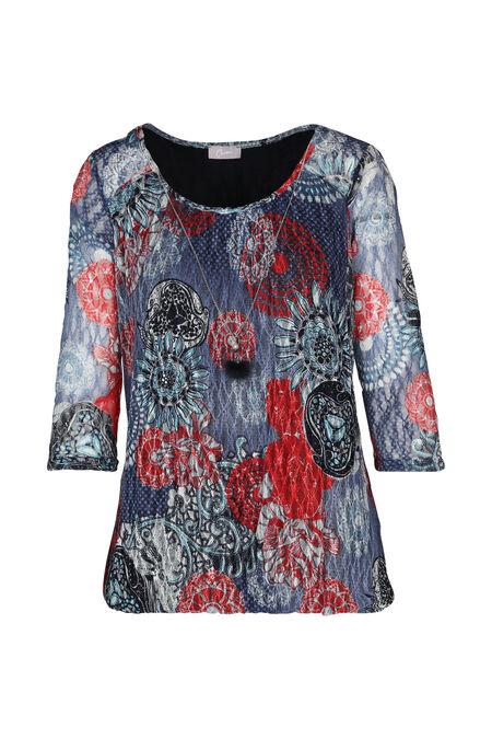 Kanten T-shirt met fantasie - Blauw