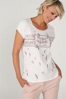 T-shirt imprimé avec sequins, Ecru