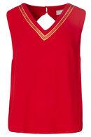 Blouse met sportieve strepen in goudkleurige lurex, Rood