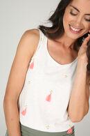 T-shirt met borduurwerk en pompons, Ecru
