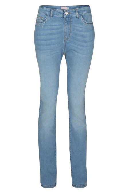 Katoenen jeans met strassteentjes - Denim
