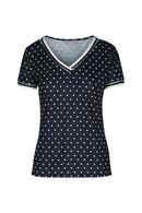 T-shirt met stippen, Marineblauw