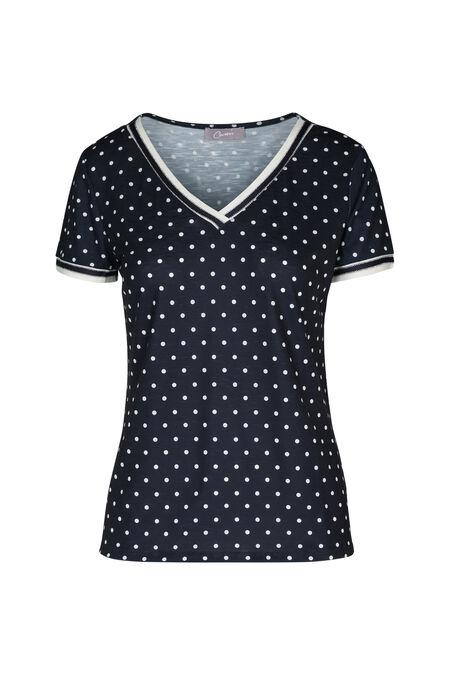 T-shirt met stippen - Marineblauw