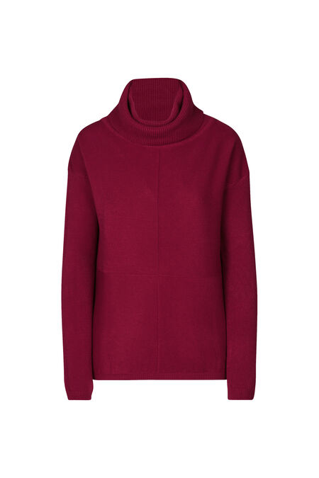 Pull gros col roulé - Rouge