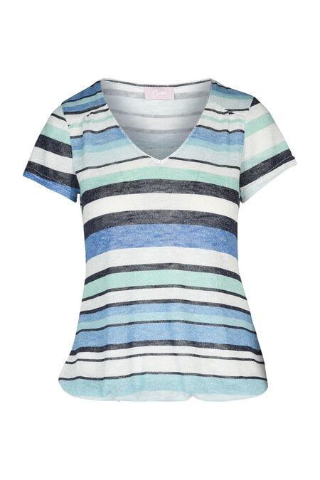 Gestreept T-shirt met lurex - Appelblauwzeegroen